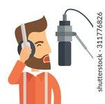 a caucasian radio dj with... | Shutterstock .eps vector #311776826