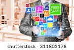 business man using tablet pc... | Shutterstock . vector #311803178