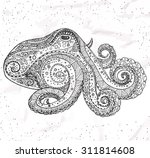 octopus tribal ornament. hippie ... | Shutterstock .eps vector #311814608