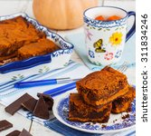 Pumpkin Brownies.selective Focus