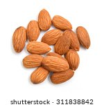almonds isolated on white... | Shutterstock . vector #311838842