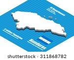 honduras map vector three... | Shutterstock .eps vector #311868782