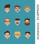 set of people isolated on blue... | Shutterstock .eps vector #311899055