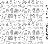 toys icons contour. seamless... | Shutterstock .eps vector #311906675