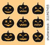 pumpkins set for halloween | Shutterstock .eps vector #311907455