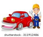mechanic cartoon with car for... | Shutterstock .eps vector #311912486