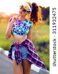 lifestyle portrait of trendy... | Shutterstock . vector #311932475