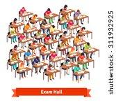 large exam classroom hall full... | Shutterstock .eps vector #311932925