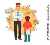 boy son holding a plus grade... | Shutterstock .eps vector #311933192