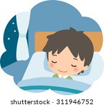 a man sleeping in the bed | Shutterstock .eps vector #311946752