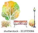 Hand Drawn Watercolor Autumn...