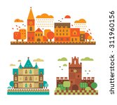 medieval castles in the fall.... | Shutterstock .eps vector #311960156