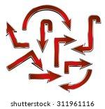 set of vector shiny red metal... | Shutterstock .eps vector #311961116