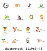 set of colorful abstract letter ... | Shutterstock . vector #311965448