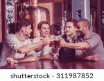 four businessmen drink beer and ... | Shutterstock . vector #311987852