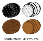 four wooden barrels vector. set ... | Shutterstock .eps vector #311993492