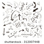 hand drawn arrows icons set on ... | Shutterstock . vector #312007448