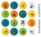 set of flat autumn icons.... | Shutterstock .eps vector #312010472