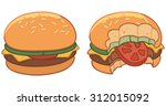 set of two hamburgers ... | Shutterstock .eps vector #312015092