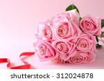 Stock photo pink roses bouquet 312024878