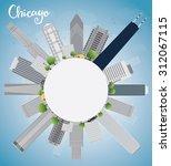 Chicago City Skyline With Grey...