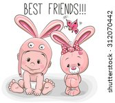 Cute Cartoon Baby In A Bunny...