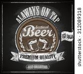 beer menu on the blackboard  ... | Shutterstock .eps vector #312089318
