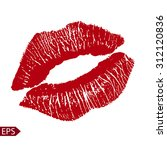 print of red lips. vector... | Shutterstock .eps vector #312120836