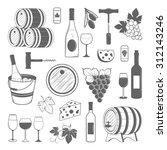 elegant wine set of vintage... | Shutterstock . vector #312143246