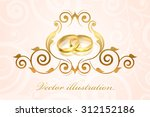 vector wedding invitation with... | Shutterstock .eps vector #312152186