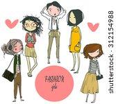 set with cartoon girls | Shutterstock .eps vector #312154988