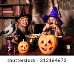 witch  children with pumpkin... | Shutterstock . vector #312164672