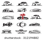 Stock vector set of fifteen car icons 312194882