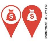 map pointer. money bag icon....