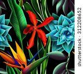 seamless tropical flower  plant ... | Shutterstock . vector #312208652