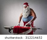 Santa Claus Doing The Ironing