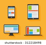 flat design devices icons  | Shutterstock .eps vector #312218498