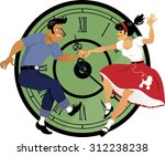 rock around the clock. young...   Shutterstock .eps vector #312238238