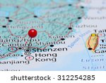 Shenzen pinned on a map of Asia