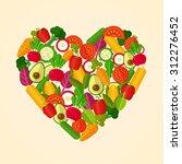 heart shape organic fresh fruit ... | Shutterstock .eps vector #312276452