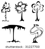Different graphic trees.Vector illustration - stock vector
