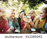 diverse people friends hanging... | Shutterstock . vector #312285092