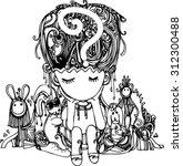 hand draw of imagination boy... | Shutterstock .eps vector #312300488