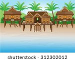 thai house on  the beach. | Shutterstock .eps vector #312302012