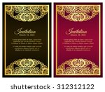 vintage red invitation cover... | Shutterstock .eps vector #312312122