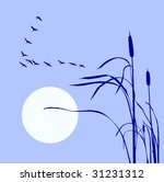 Vector Drawing Flock Geese On...