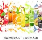 rainbow colorful fruit stripe... | Shutterstock . vector #312321668