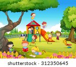 children playing in the... | Shutterstock .eps vector #312350645