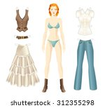 doll with paper clothes in... | Shutterstock .eps vector #312355298