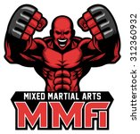 mma fighter mascot | Shutterstock .eps vector #312360932